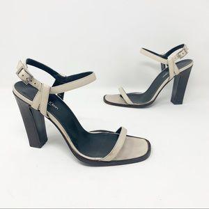 Calvin Klein square toe ankle strap heels